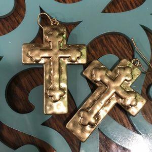 Fabulous brass Cross earrings, pierced
